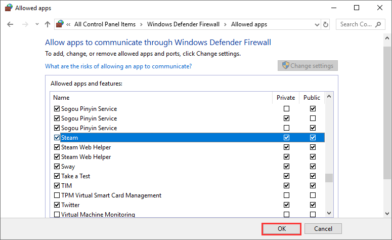 allow the Steam app through Windows Firewall