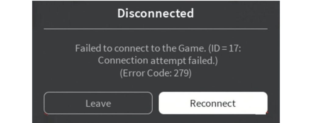 Roblox Error Code 279