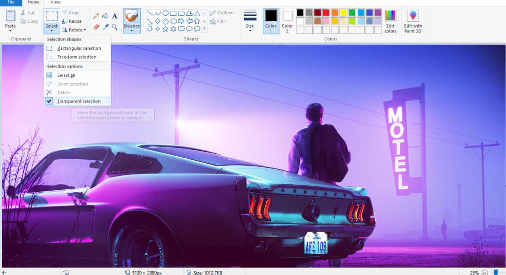 how to make background transparent in paint