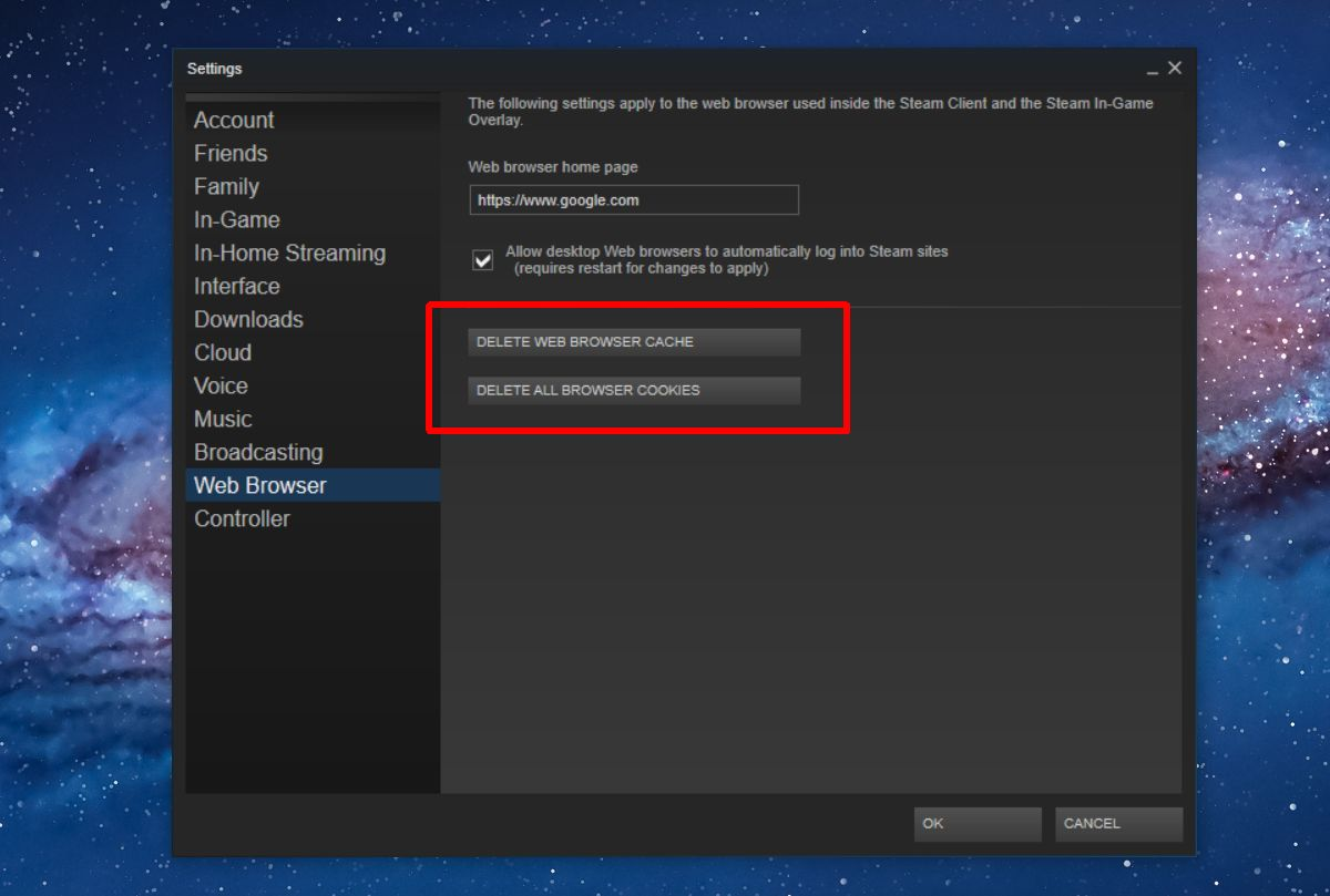 Erase Steam Web Browser Cache and Cookies